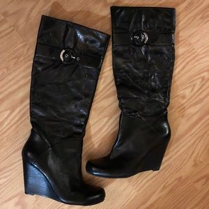 leather wedge heel boots Guess